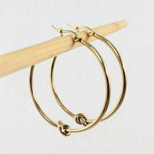 Yellow Gold Knot Hoops